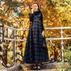 Maxi Plaid Pinafore Dress