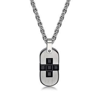 Square Cross Pendant With Necklace Ip Black - One Size