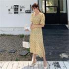 V-neck Tie-waist Floral Print Dress Yellow - One Size
