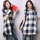 Plaid Short Sleeve Long Shirt