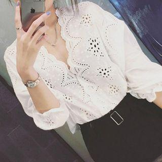 Perforated 3/4 Sleeve Blouse White - One Size