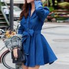 Denim Long-sleeve Collared Dress