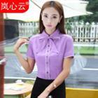 Short Sleeve Tie Neck Dress Shirt