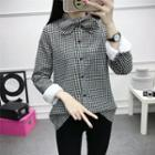 Bow-neck Gingham Blouse