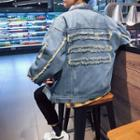 Distressed Fray-trim Denim Jacket