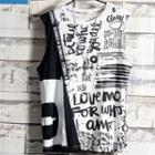 Sleeveless Print Lettering Top