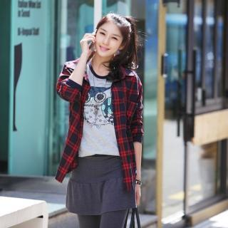 Tab-sleeve Plaid Shirt