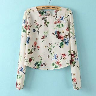 Long-sleeve Floral Chiffon Top