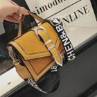 Buckled Lettering Strap Faux Leather Crossbody Bag