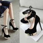 Embellished Lace-up Stilettos