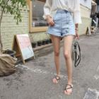 Side-button Washed Denim Shorts