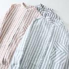 Mandarin Collar Striped Blouse
