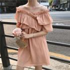Off-shoulder Ruffle Trim Dress