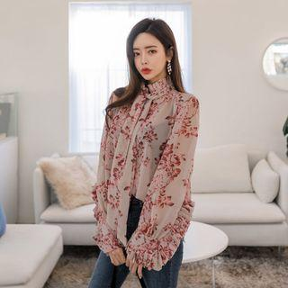 Tie-front Floral Print Blouse One Size