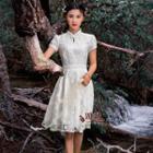 Short-sleeve Plain A-line Dress