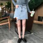 Washed Distressed Denim Skirt