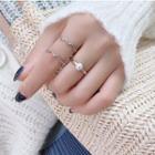 925 Sterling Silver Wavy Open Ring / Faux Pearl Open Ring