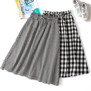 Tie-waist Plaid Midi Skirt