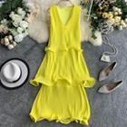 Sleeveless Chiffon Pleated Tiered Dress