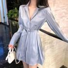 Pocket Detail Long-sleeve Mini Shirtdress Light Blue - One Size