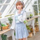 Pleated Suspender Mini Skirt