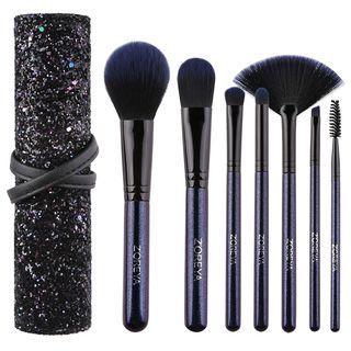 Set Of 7: Makeup Brush Black & Purple - One Size