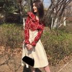 Dotted Shirt / A-line Midi Skirt