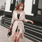Lace-panel Chiffon Trench Coat With Sash
