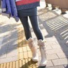 Plain Mock Two-piece Inset Leggings