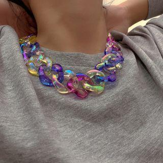 Acrylic Chunky Chain Necklace 3295 - Multicolor - One Size
