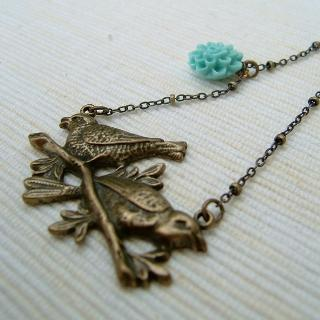 Couple Birds Necklace Copper - One Size