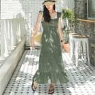 Ruffled Linen Blend Maxi Pinafore Dress
