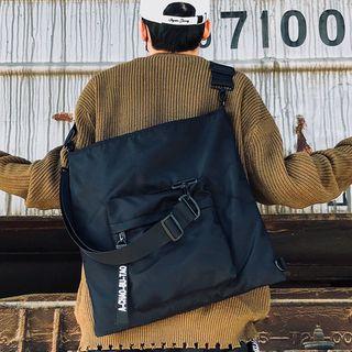 Lettering Nylon Messenger Bag Black - One Size