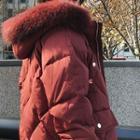Plain Faux Fur Trim Hooded Coat
