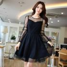 Lace Panel Tulle A-line Dress