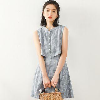 Mock Two-piece Sleeveless Plaid A-line Mini Dress