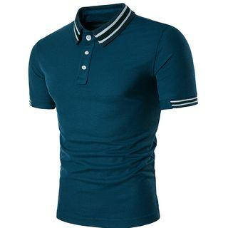 Short-sleeve Stripe-trim Polo Shirt