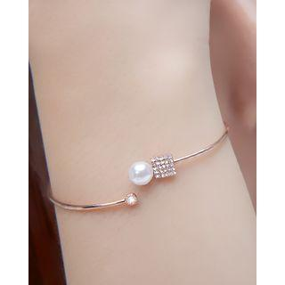 Faux-pearl Rhinestone Slim Open Bangle