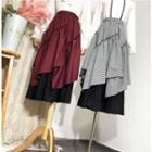 Maxi A-line Plaid Layered Skirt