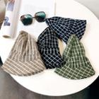 Plaid Embroidered Bucket Hat