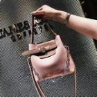 Faux Leather Buckled Color Panel Crossbody Bag