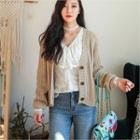 Raglan-sleeve Cable-knit Cardigan