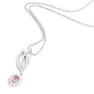 18k White Gold Pendant With Diamonds And Pink Sapphire