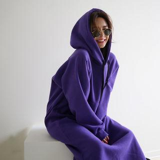 Kangaroo-pocket Long Hoodie Dress Violet - One Size