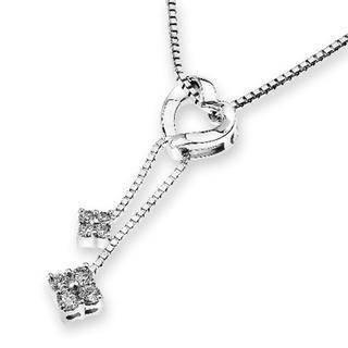18k White Gold Heart Dangle String Link Diamond Accent Pendant Necklace (0.13cttw) (free 925 Silver Box Chain, 16)