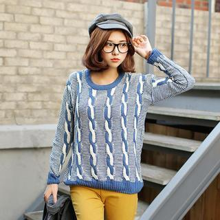 Two-tone Cable-knit Sweater