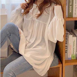 Tie-neck Frilled Trim Chiffon Blouse White - One Size