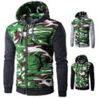 Camouflage Panel Hooded Zip Jacket