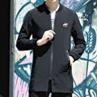 Embroidered Applique Zip Coat