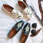 Floral Embroidered Studded Loafers